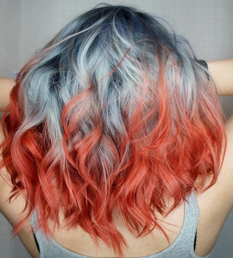 Coral Ends With Dark Blue Roots And Silver In The Middle Also Known As Beautifully Impossible To Maintain Silver Hair Color Hair Styles Hair