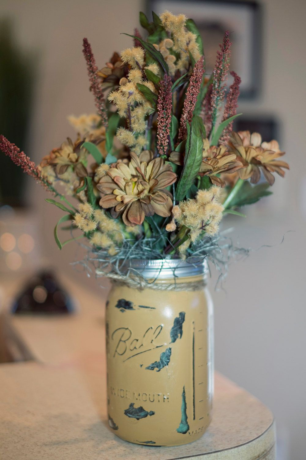 Mason Jar Painted Vase With Brown Silk Flowers By Designsbymjl On