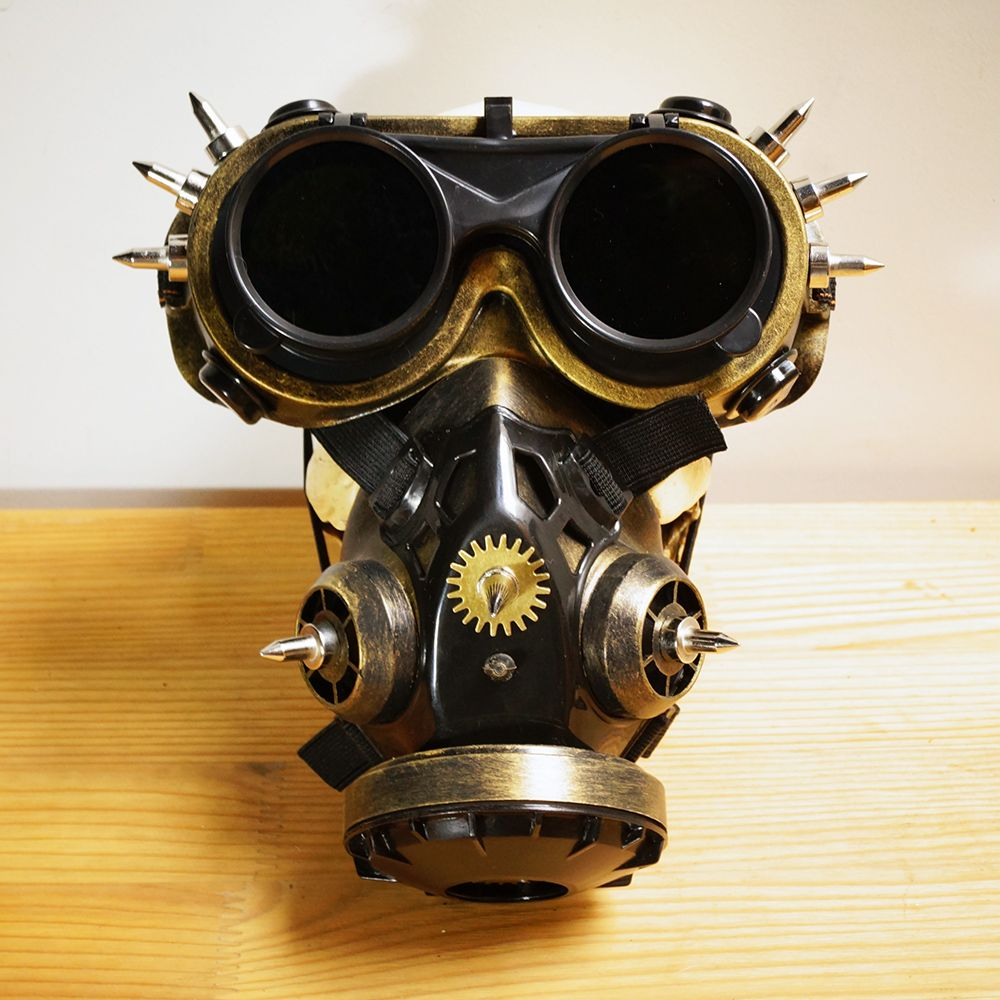Gas Mask Respirator Antique Gold Punk Goth Cyber Halloween Steampunk party