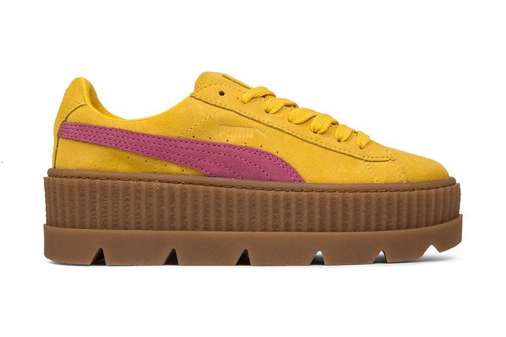 b086e034f4b0 Puma x Fenty by Rihanna Women s Cleated Creeper Suede - Lemon Carmine   polyvoreoutfits