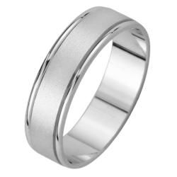 14k White Gold Mens Satin Finish Wedding Band