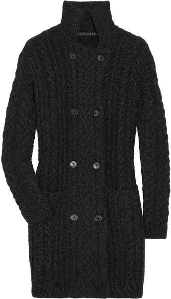 e2d61a89688 Cable-knit Cashmere Cardi-coat - Lyst RALPH LAUREN BLACK LABEL ...