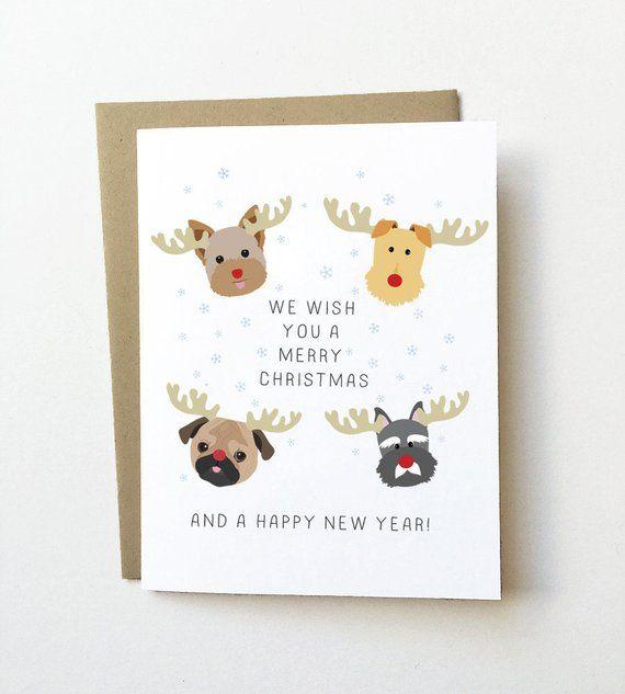 Dog Christmas Card, Cute Christmas Card, Cute Holiday Card, Dog