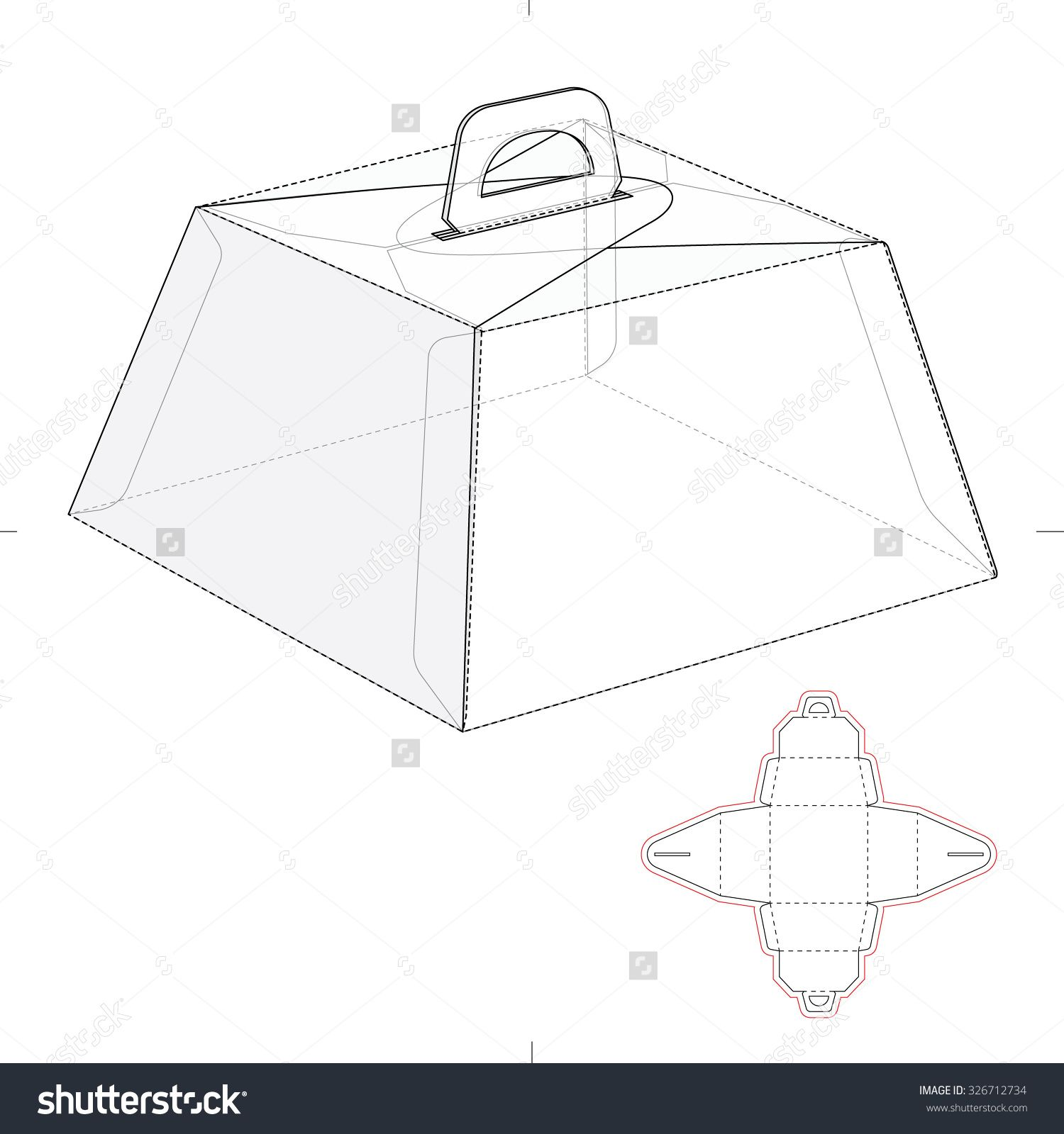 caring birthday cake box with die line template stock vector