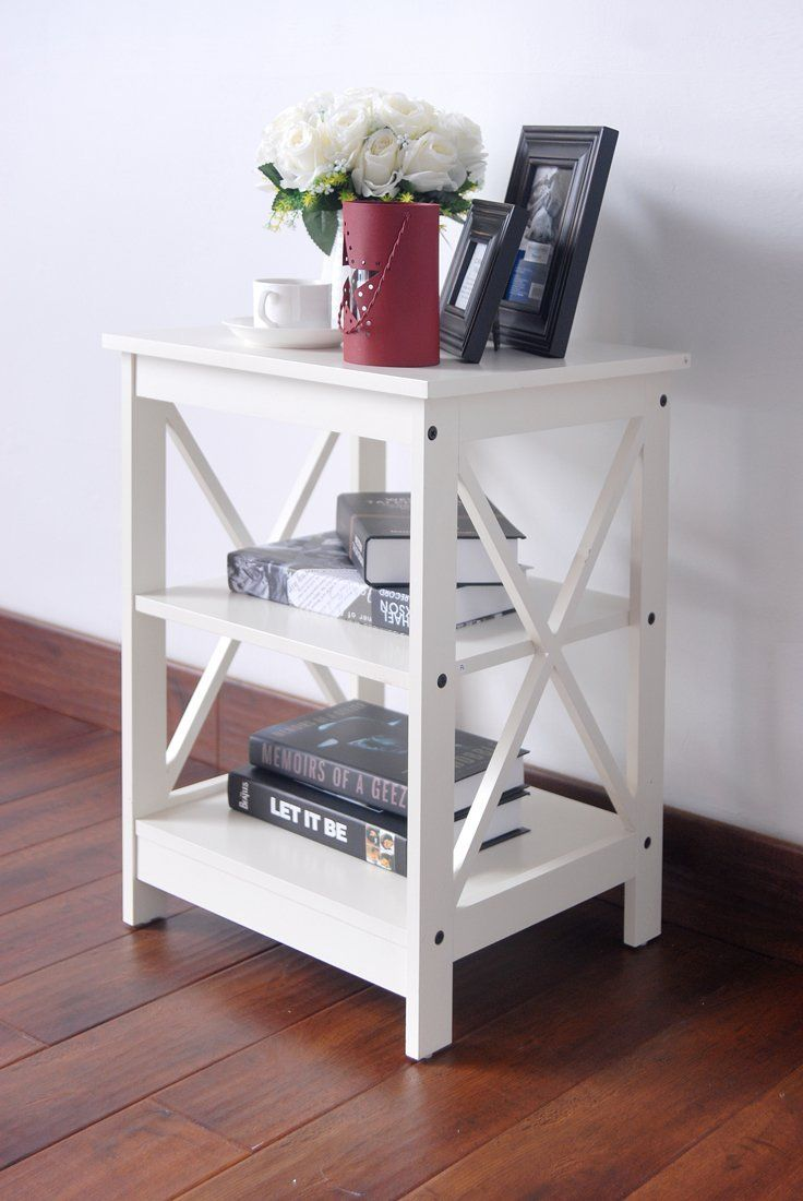 Amazon com white finish wooden x design chair side end table with 3 tier shelf
