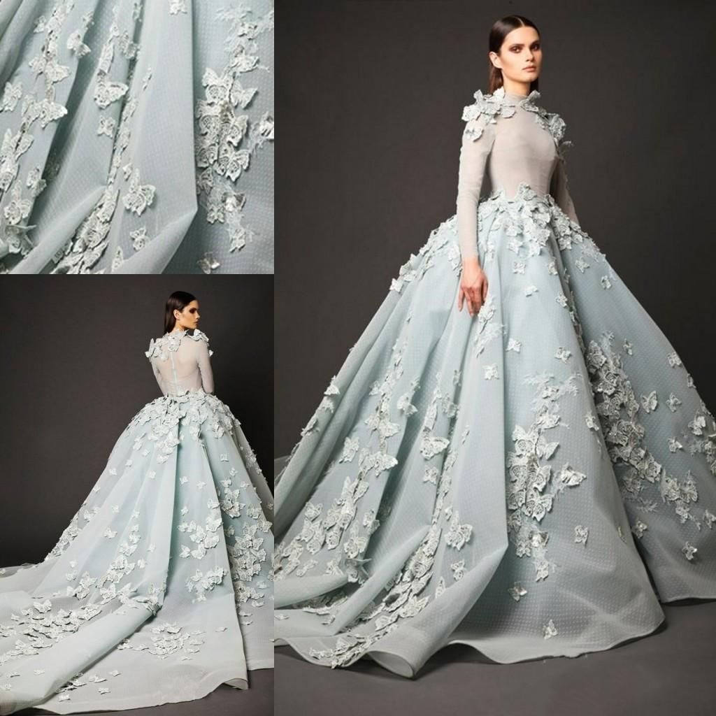 2016 High Neck Long Sleeve Arabic Evening Gowns Sage Lace Applique Ball Gown Prom Dresses Custom Made Court Train Formal Party Dresses Evening Dresses Durban Ev Gowns Evening Dresses For Weddings