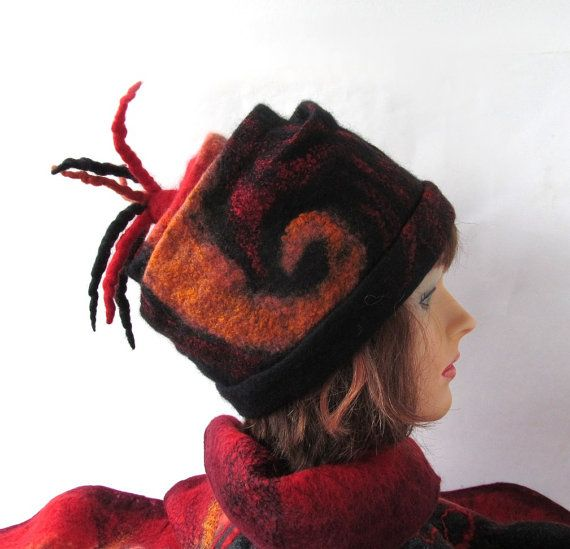 Felted hat  black red fire tail fringe by galafilc on Etsy, $69.00