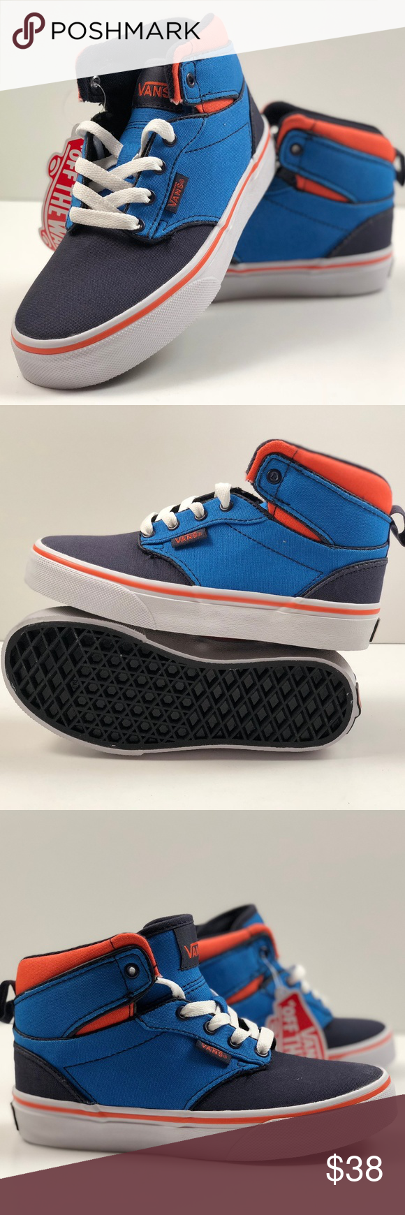 88e655b2d99776 Vans Atwood Hi Canvas Blue Orange Skate Kids Shoes Vans Atwood Hi Canvas  Blue Orange Skate Kids Shoes. Condition  New with box. Size  Youth 13.5 Vans  Shoes ...