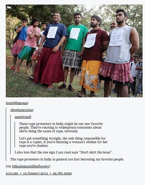 These Indian protesters wore skirts in response to the statement that the skirts women wear incite men to rape them.