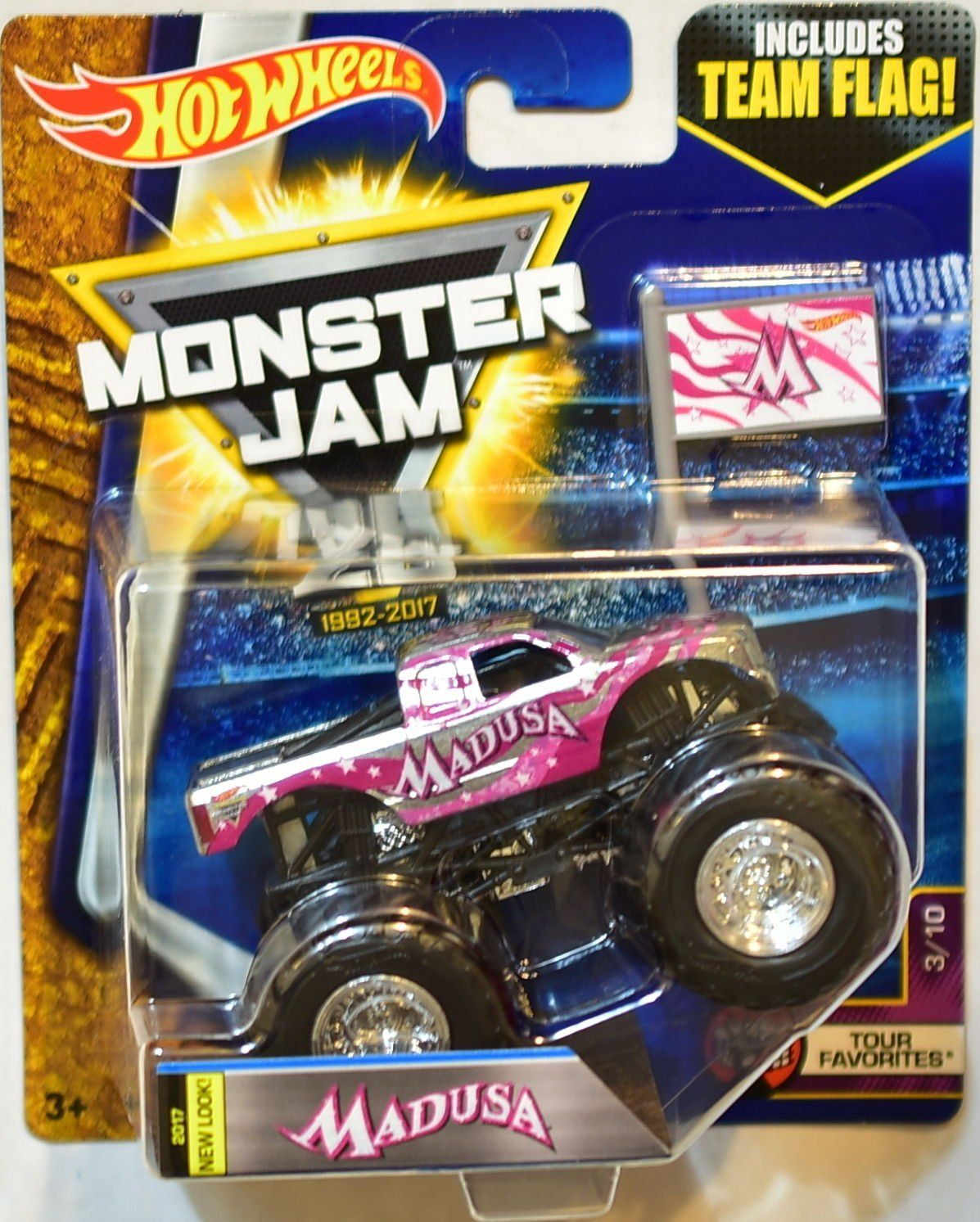 Amazon Com Hot Wheels Monster Jam 2017 Release 3 10 Team Flag Madusa Silver Chrome And Pink 1 64 Scale Monster Hot Wheels Monster Jam Monster Jam Hot Wheels
