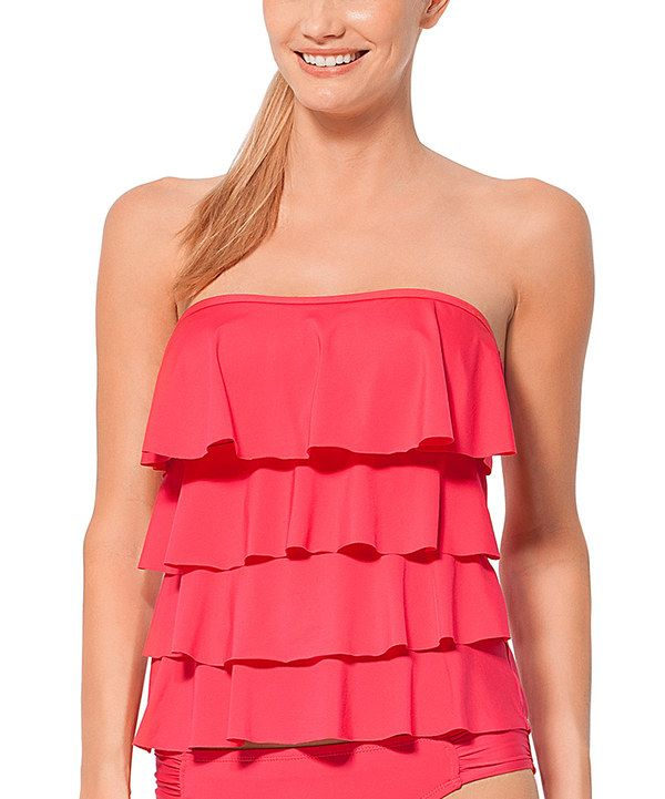 947add878a Look at this Coral Ruffle Strapless Tankini on  zulily today ...