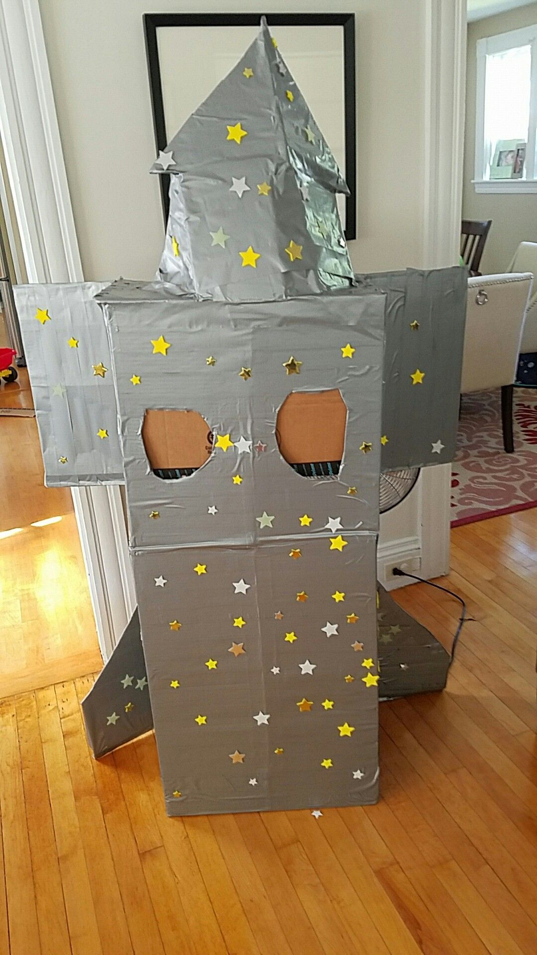 Cardboard and duct tape rocket ship. Very popular with the kids!