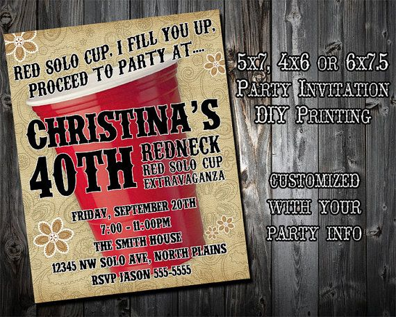 Redneck party invitation personalized and printable 5x7 – Redneck Party Invitations