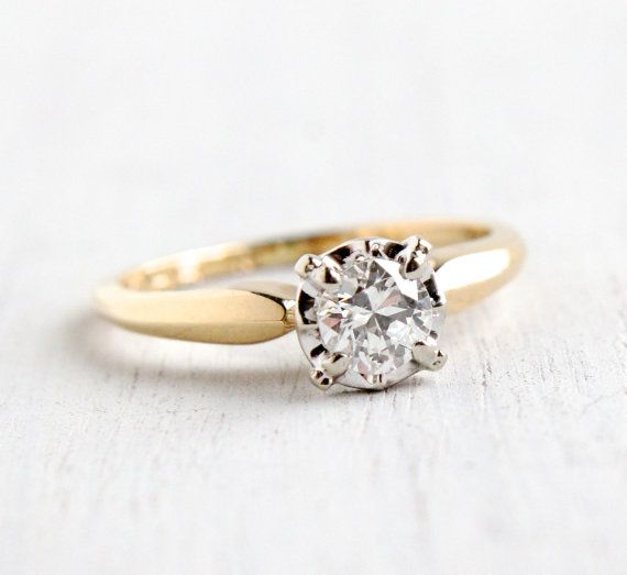 Vintage 14k Yellow White Gold 1 3 Carat Diamond Ring Size 5 1 2 Solitaire 1950s 1960s Engagement Jew Antique Rings Vintage White Gold Vintage Diamond Rings