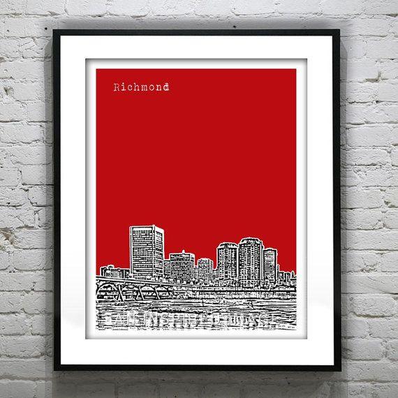 richmond virginia skyline poster art print va version 1 | richmond ...