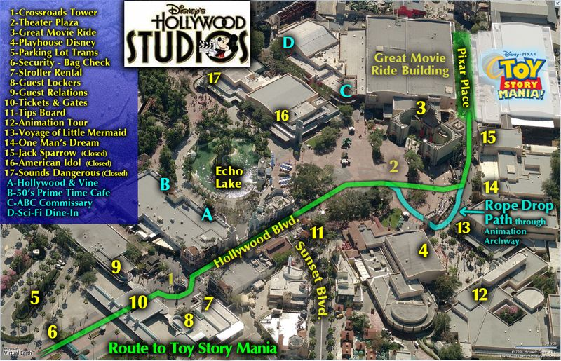 Route to Toy Story Mania, Hollywood Studios Map. | Robo\'s WDW Maps ...