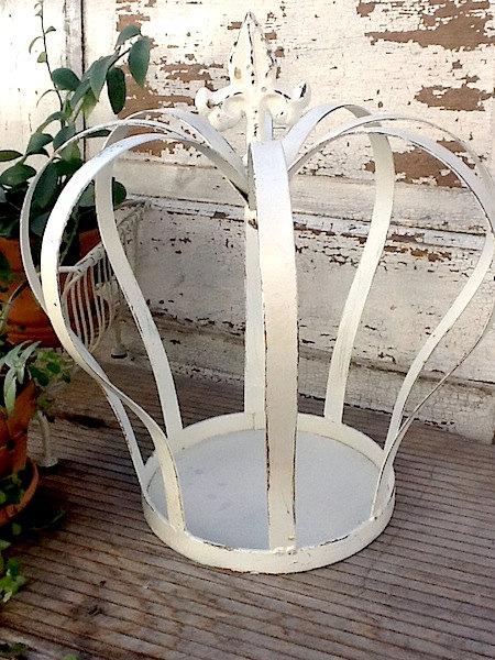 metal crown, shabby chic white, iron crown garden decor royal