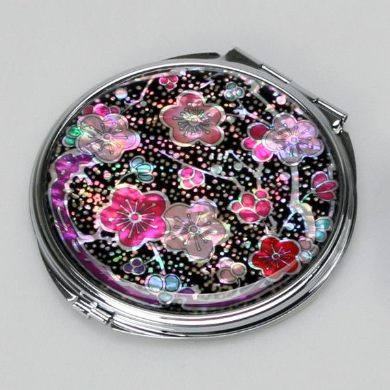 Mother of Pearl Pink Red Flower Round Metal Double Compact Cosmetic Makeup Folding Handbag Purse Beauty Pocket Mini Hand Mirror