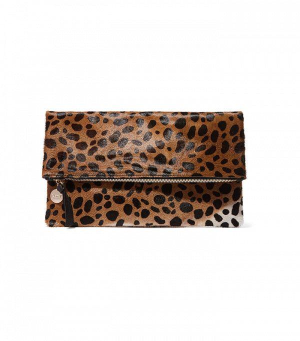 Clare V Leopard-Print Calf Hair Clutch