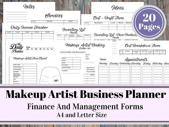 Makeup Artist Business Planner and Manager, Business Finance and - inventory list form