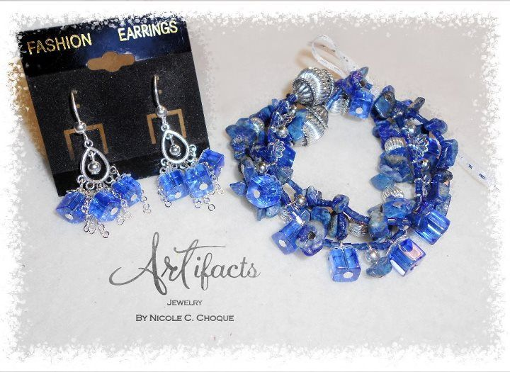 """Greek Isle Blue Bracelet & Earrings 