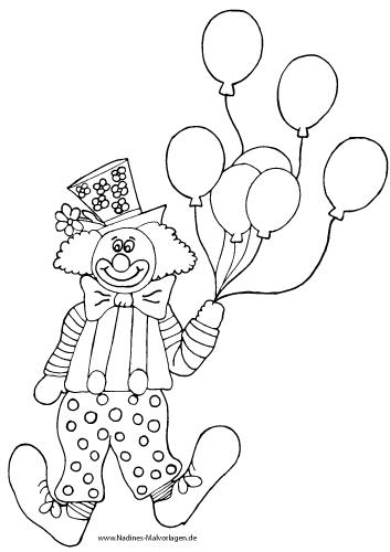 ausmalbild clown mit luftballons  minnie clown