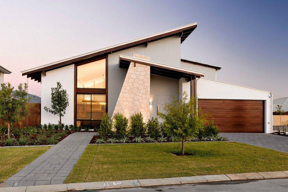 Hermosa Fachada Y Diseño De Interiores De Casa De Un Piso