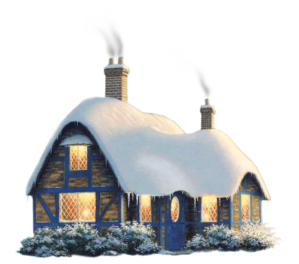 Transparent Snowy Winter House PNG Clipart