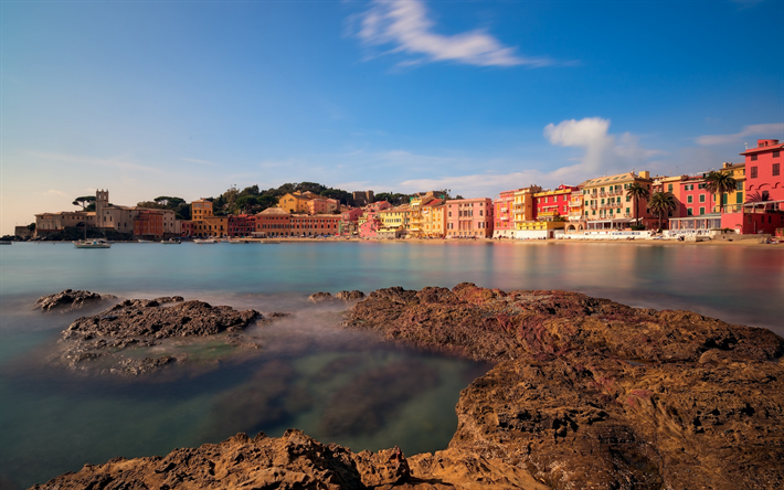 Lataa kuva Sestri Levante, Satama, aamulla, sunrise, meri, Genova, Italia, Ligurian Sea, Liguria