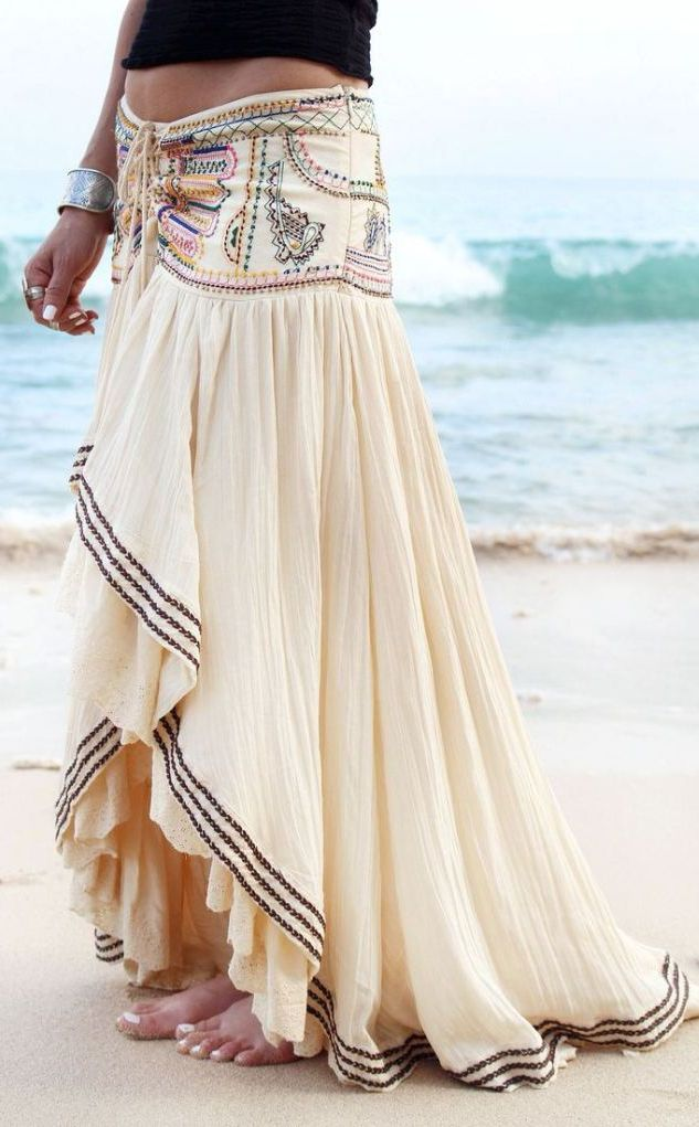 Embroidered Boho Maxi Skirt #Fashionistas
