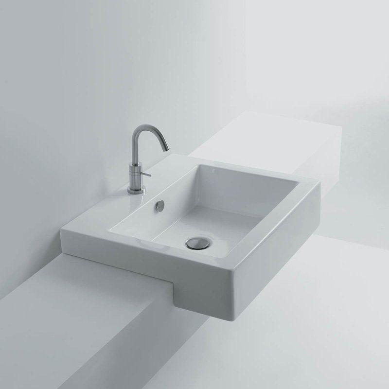 Ws Bath Collections Quad 60s Semi Recessed Bathroom Sink Quad 60s Ws04401f Drop In Bathroom Sinks Modern Bathroom Sink Sink
