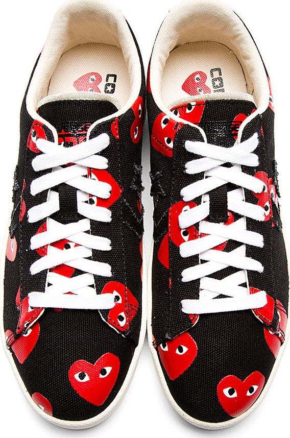 a97d75f106e3 Comme Des Garçons Play  Black   Red Heart Print Converse Pro Edition  Sneakers