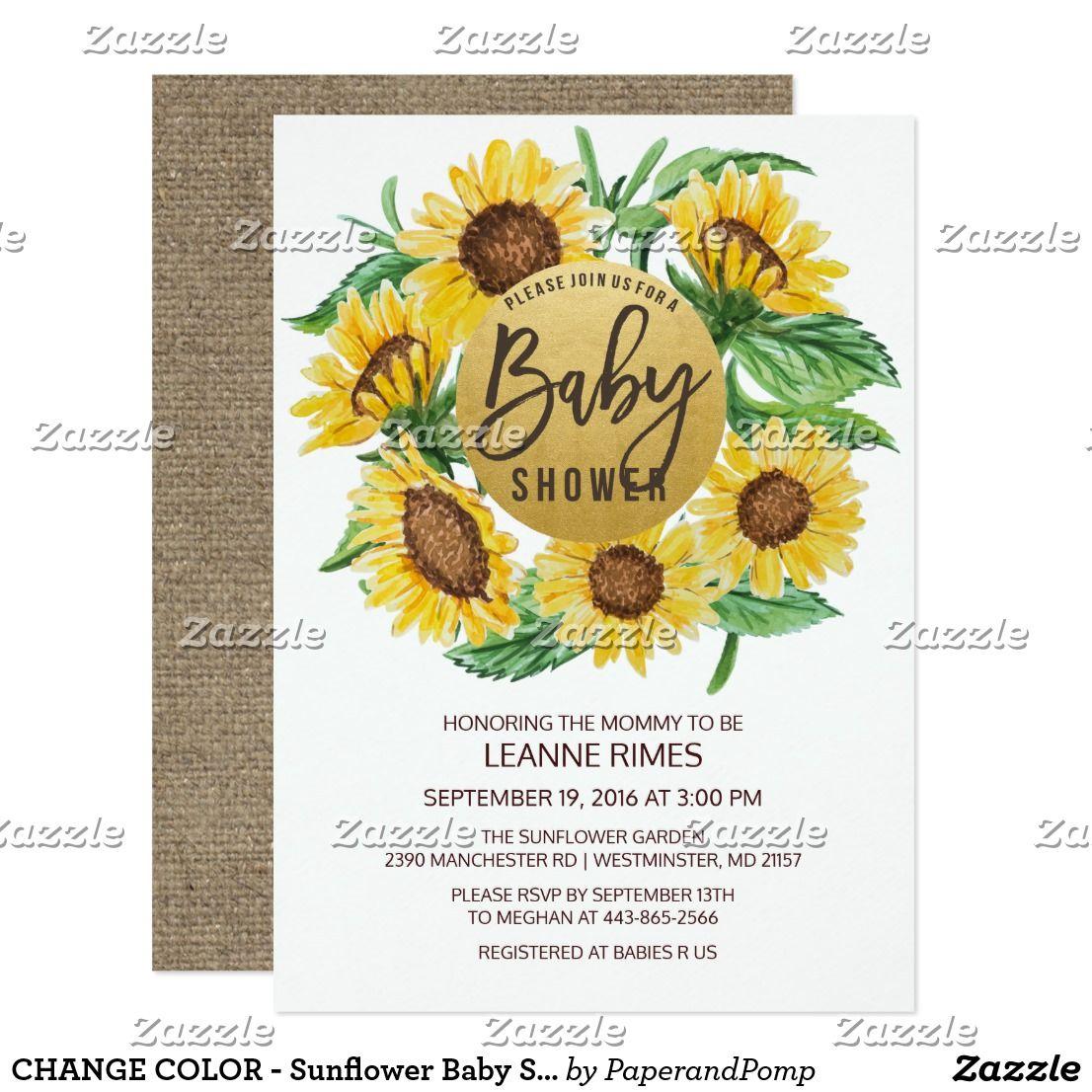 CHANGE COLOR - Sunflower Baby Shower Invitation | Sunflower baby ...