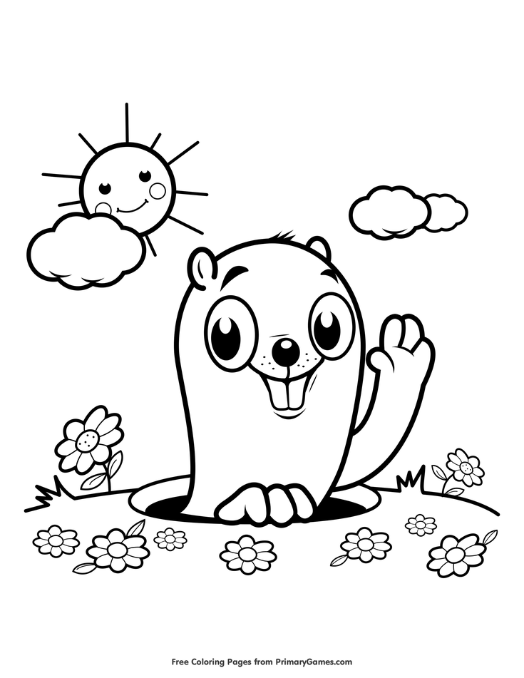 image relating to Groundhog Day Coloring Pages Free Printable called Groundhog Working day Coloring Internet pages e-book: Groundhog within just the