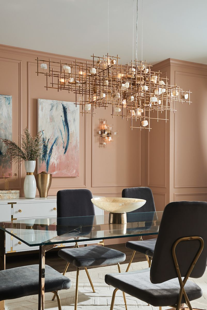 The Petra Chandelier Is A Striking Display Of Architectural Beauty Intertwining Bars And Susp Unique Dining Room Dining Room Chandelier Beautiful Dining Rooms