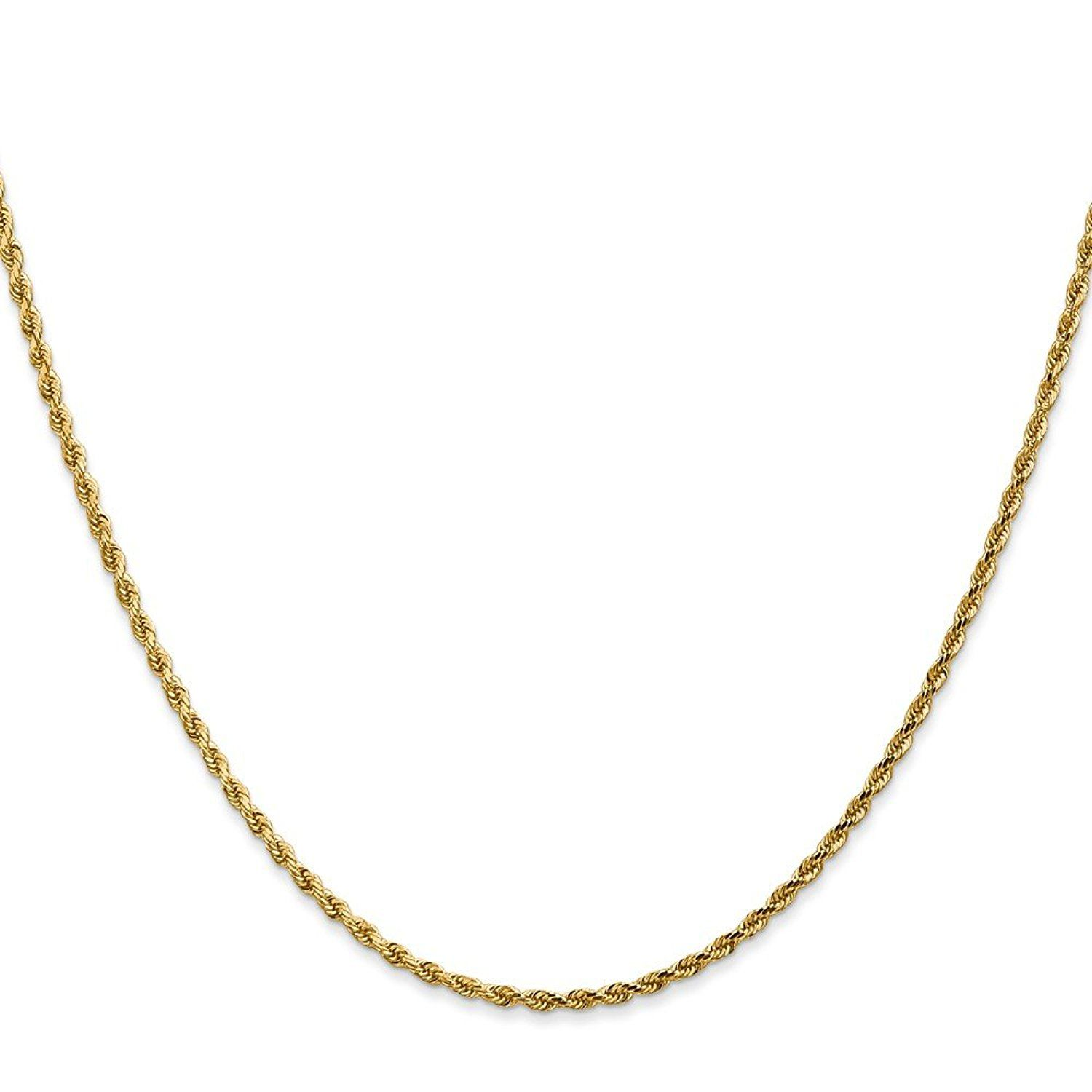 Solid 14k Yellow Gold 1.75-mm Diamond Cut Polished Finish Handmade Rope with Lobster Clasp Chain *** Continue to the product at the image link. (This is an Amazon Affiliate link and I receive a commission for the sales)