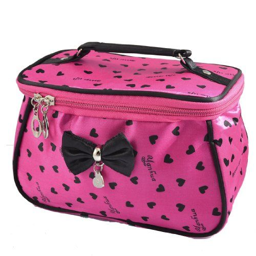 97db7d46d50c Women Heart Print Bowknot Decor Zipper Travel Cosmetic Bag Purse Fuchsia    Check out this great