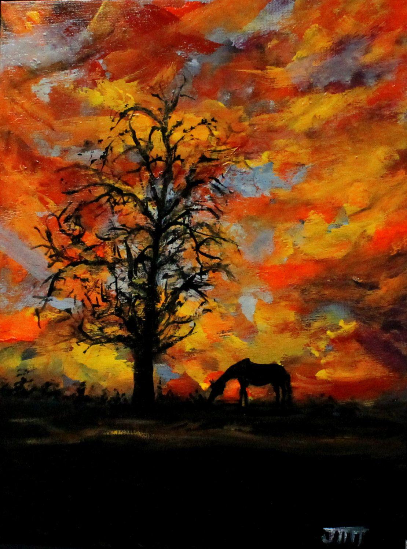 Sunset Brilliance Original Acrylic Painting On 9 X 12 Canvas