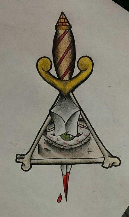 Killuminati Illuminati All Seeing Eye and Dagger Tattoo Flash