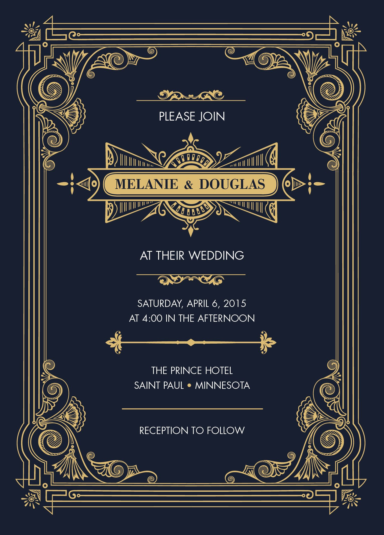 Invitation Card For Weddings Or Events Gold And Navy Or
