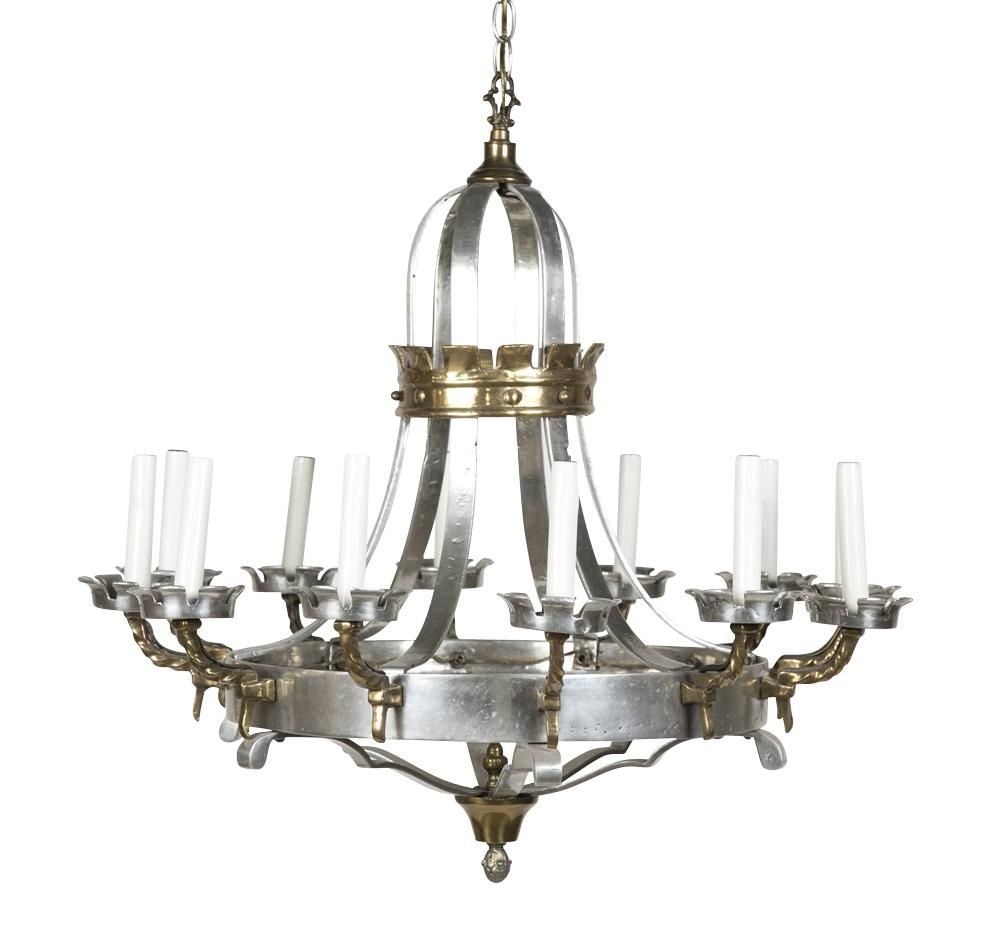 Renaissance style brass and pewter 12 arm chandelier with turret renaissance style brass and pewter 12 arm chandelier with turret form bobeches circa 1940s aloadofball Choice Image