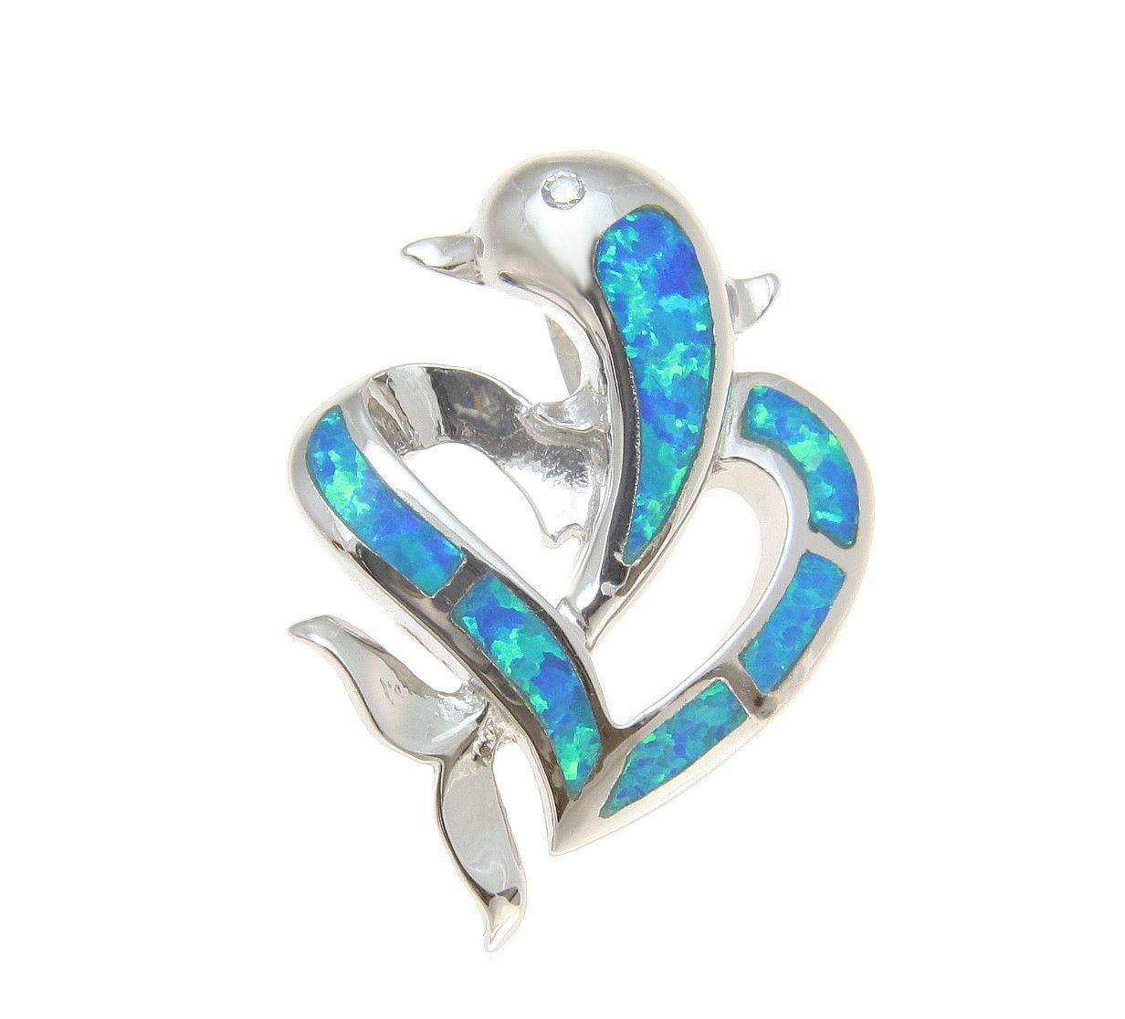 925 Sterling Silver Rhodium Hawaiian Dolphin Plumeria Flower Blue Opal Pendant