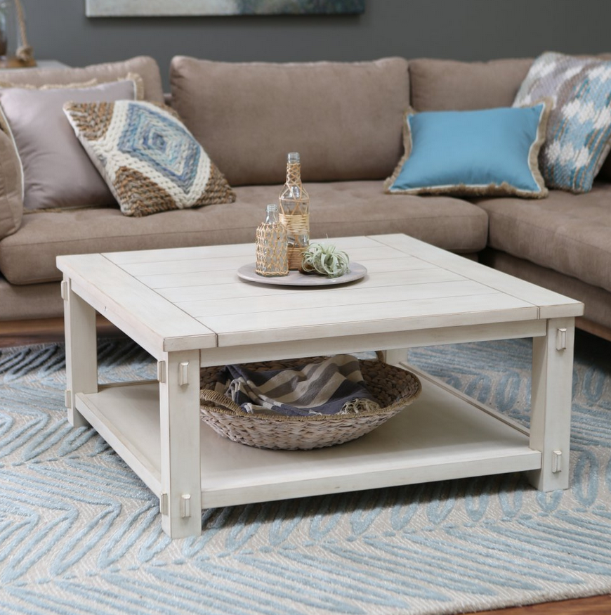Antique White Finished Cottage Square Coffee Table Designed In