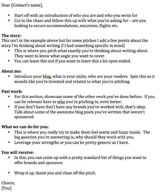 The art of pitching to travel brands and pr blogging for Agency pitch template