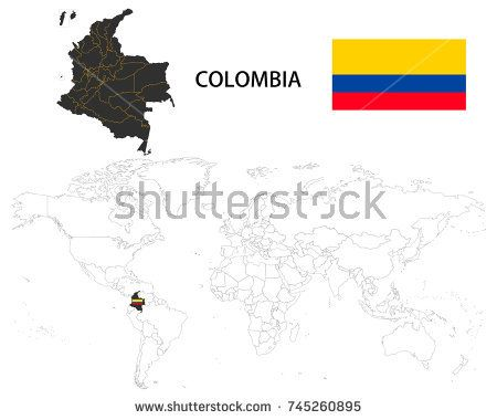 Colombia map on a world map with flag on white background colombia map on a world map with flag on white background gumiabroncs Choice Image