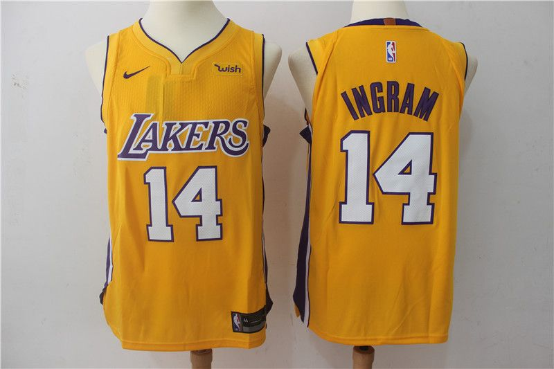 3d3665d6f Nike Lakers  14 Brandon Ingram Yellow Authentic Stitched NBA Jersey ...