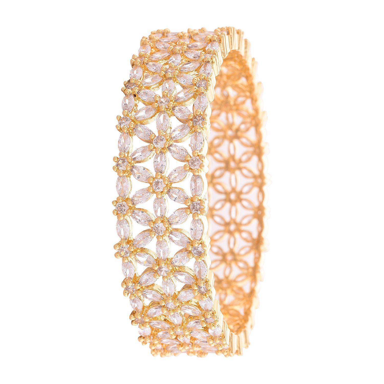 Ratnavali Jewels CZ Zirconia White Tone Diamond Bangles Kada Bracelet Jewelry Women