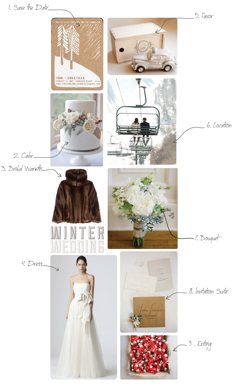 1. Save-the-Date 2. Wedding Cake 3. Fur Coat 4. The Dress 5 ...