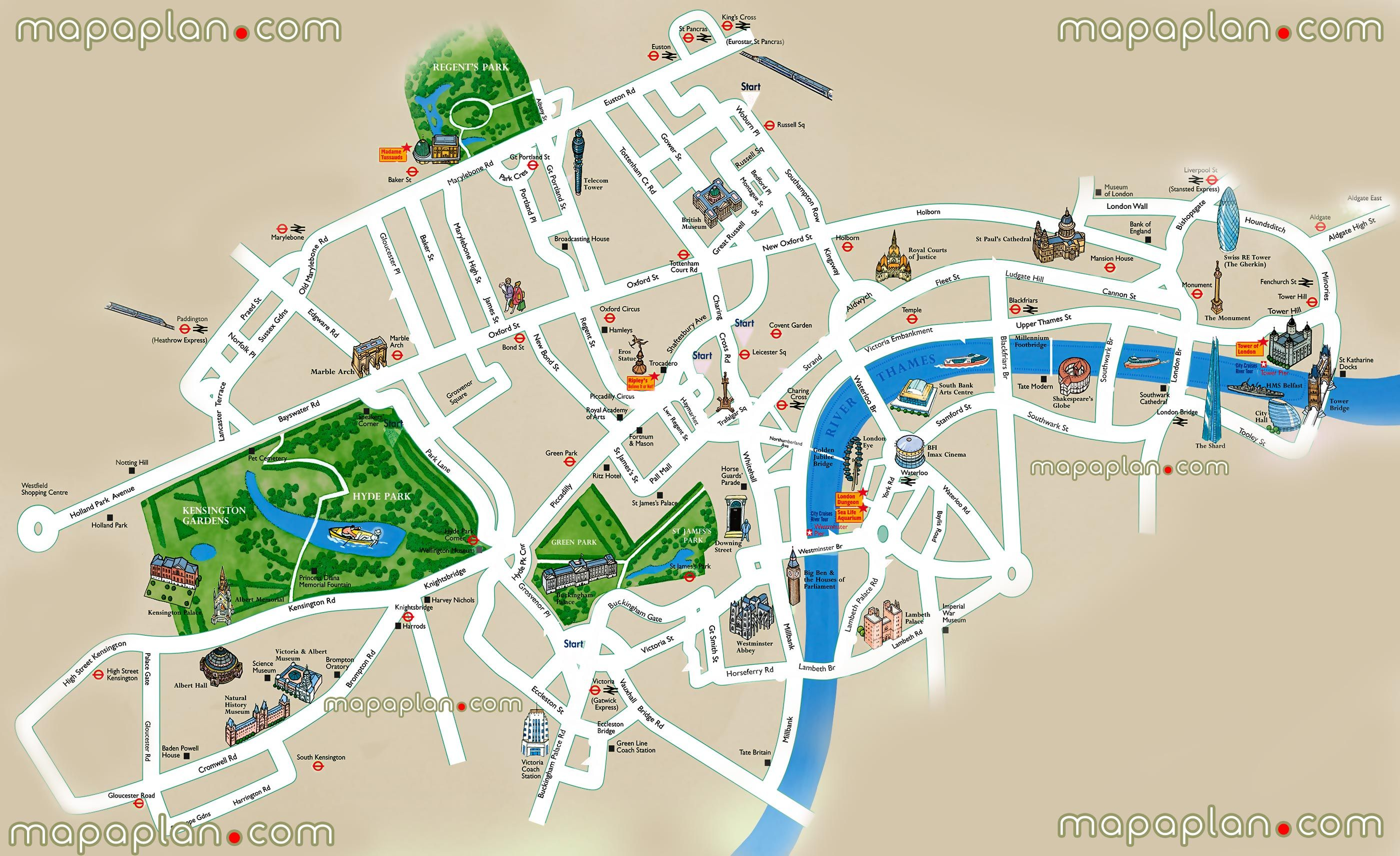 Easy London Map.Simple Easy Navigate London Top 10 Points Interest Sites Millennium