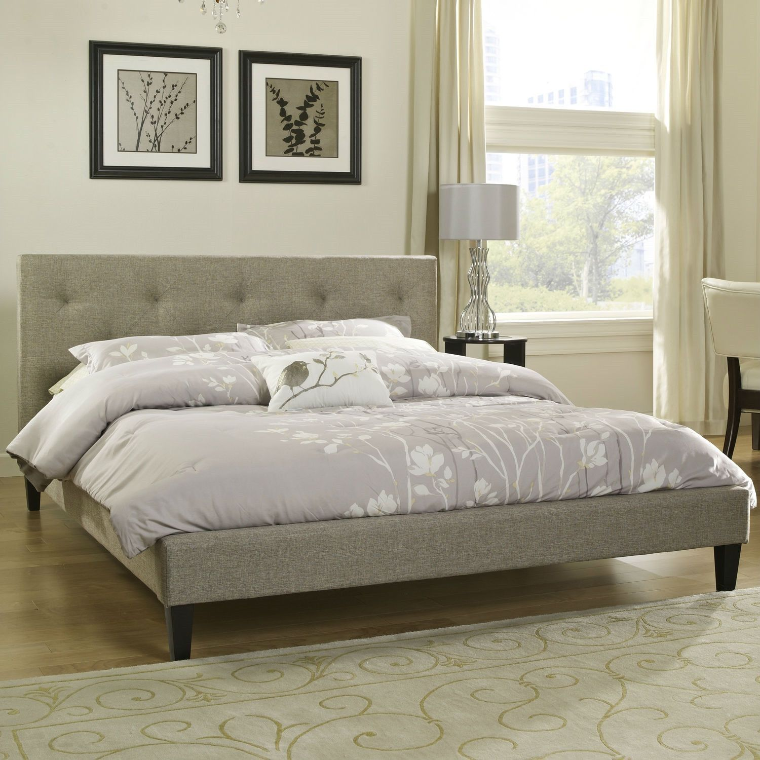 Twin Size Modern Classic Upholstered Platform Bed With Tufted Headboard